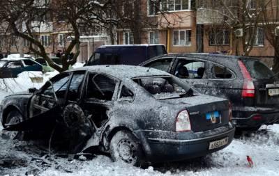 В Донецке взорвали автомобиль (видео)