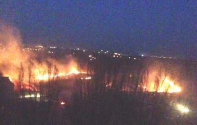 В Донецке горело поле: опубликовано видео