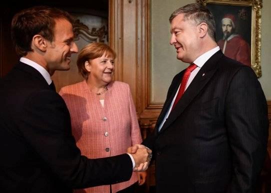 Президент Украины Петр Порошенко, осуществив визит в Германию, встретился с президентом Франции Эммануэлем Макроном и канцлером Германии Ангелой Меркель.