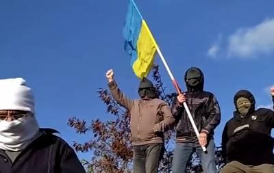 Флаг Украины над Донецком