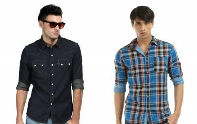 мужская рубашка и джинсы