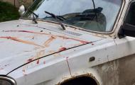 Окровавленный автомобиль в Донецке